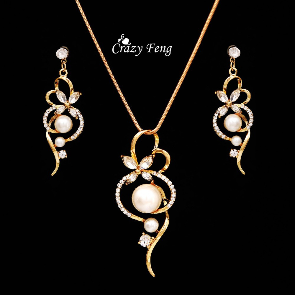 Cheap Pearl Necklace Sets: Wholesale Free Shipping Statement Fancy Women Jewelry Set