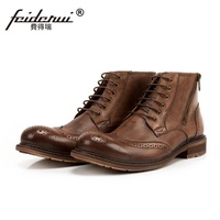 New Arrival Wingtip Man High Top Brogue Martin Shoes Genuine Leather Round Toe Carved Handmade Motorcycle Ankle Boots SS113