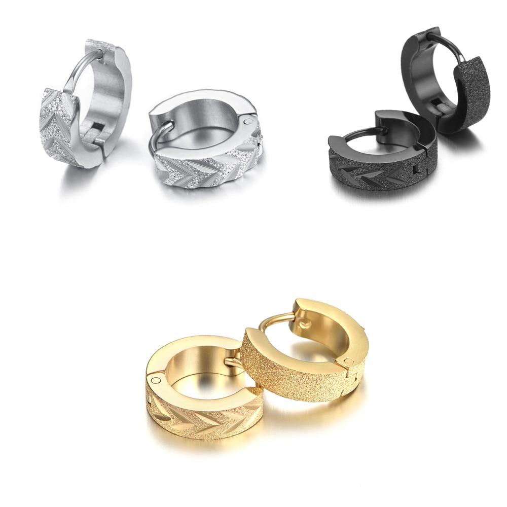 Stainless Steel Matted Mens Earrings KE1005