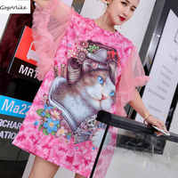 Pink Cat Print Shirt 2018 women Cute Top Tees Mesh Slee tee shirt Hip Hop Flower Print clothes Short sleeve Plus Size LT008S50