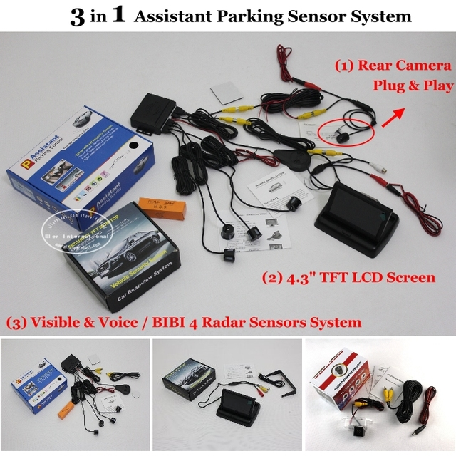 "For Mitsubishi Lancer - 3 in 1 Visual Alarm Parking System = Car Parking Sensors + 4.3"" LCD Screen + Rear View Camera"