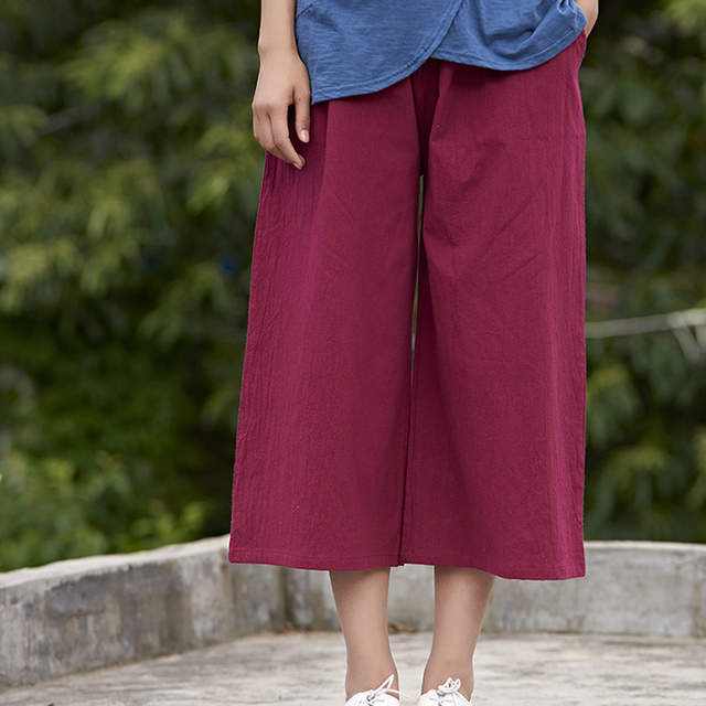 Sólido Elástico de la cintura de Las Mujeres pantalones Anchos de la pierna Pantalones de Lino de Algodón Sueltos Verano Casual Pantalones Capris de Las Mujeres Pantalones Anchos de la pierna de La Vendimia B125