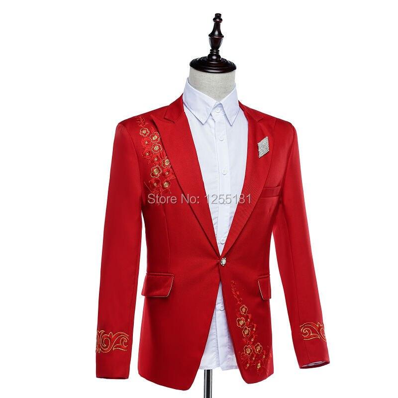 Модные мужские красные костюмы с вышивкой, деловые костюмы, большие размеры, S 4XL, одежда для ночного клуба, приталенный Блейзер с цветочным узором, брюки - 2