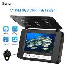 """Eyoyo EF15R 5 """"Cal HD 1000tvl podwodny wędkarski zestaw do nagrywania wideo 4 szt. Podczerwień + 2 szt. Białe diody led wideo lokalizator ryb 15M 30M"""
