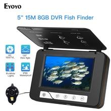 "Eyoyo EF15R 5 ""بوصة HD 1000tvl تحت الماء الصيد فيديو طقم كاميرا 4 قطعة الأشعة تحت الحمراء + 2 قطعة الأبيض المصابيح فيديو صياد السمك 15 متر 30 متر"