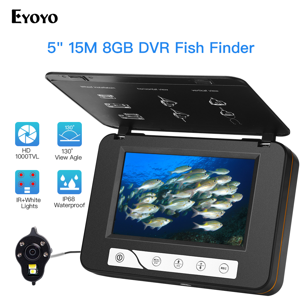 """Eyoyo EF15R 5"""" Inch HD 1000tvl Underwater Fishing Video Camera Kit 4pcs Infrared+2pcs White Leds Video Fish Finder 15M 30M-in Fish Finders from Sports & Entertainment"""
