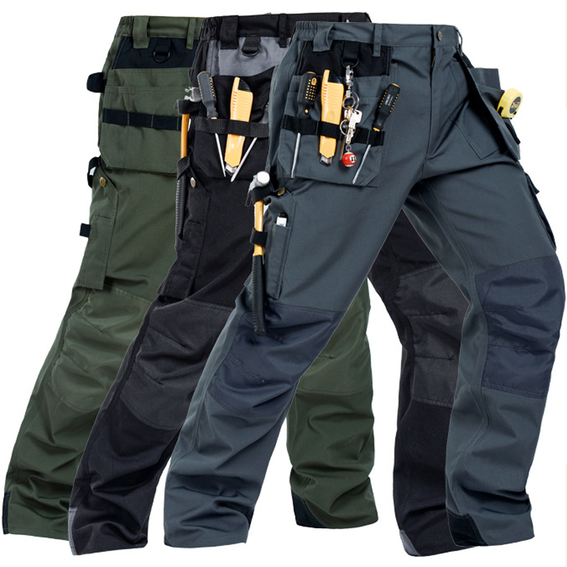 Image 1 - 2019 New Men Working Pants Multi Pockets Work Trousers With Removable Eva Knee Pads Top Quality Worker Mechanic Cargo Work Pants-in Safety Clothing from Security & Protection