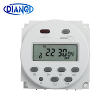 No lock CN101A AC DC 12V Round Digital LCD Power Timer Weekly Programmable Elect