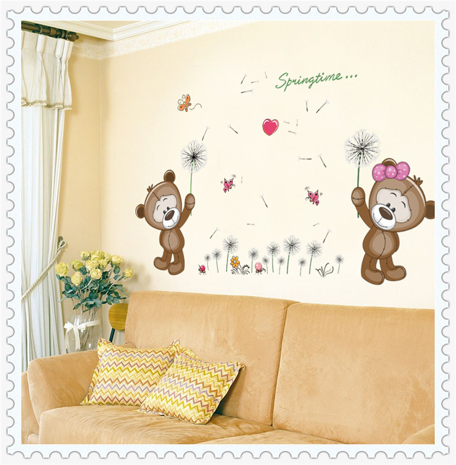 Removable Vinyl Couple Bears Kids Wall Stickers , Little Hearts Wall ...
