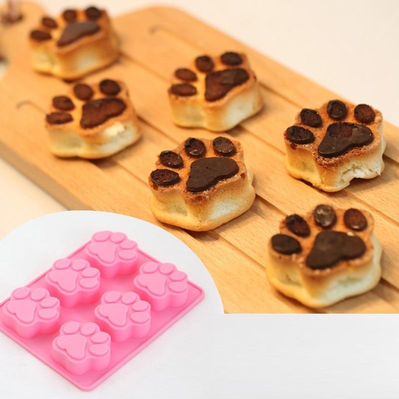 6 šálků Psí tlapa tlapa tisk Dort Nástroje Fondant Kuchyně Pečení nádobí Silikon Non-Stick Cupcake Pečení zásobník dort formy  t