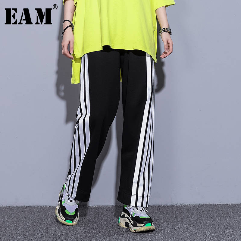 [EAM] 2019 New Spring Summer High Elastic Waist Black Striped Split Joint Loose   Wide     Leg     Pants   Women Trousers Fashion Tide JR267