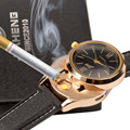 Hot Sale Men Women's Watch Clock Quartz Military Watches with USB Flameless Cigar Lighter Gold Black Leather -33