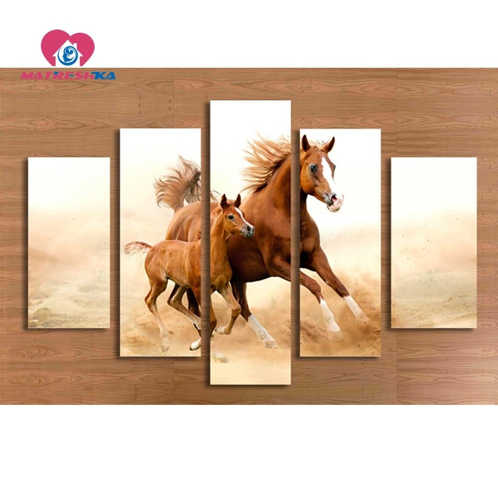 Peinture diamant animaux cheval diamant broderie triptyque mosaïque peinture strass brodé peintures murales modulaires