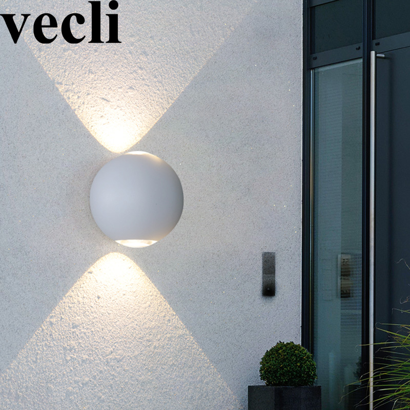 Rainproof outdoor creative round LED wall light fixture countyard balcony residential decorative lamps black/white sconce