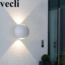 Купить с кэшбэком Rainproof outdoor creative round LED wall light fixture countyard balcony residential decorative lamps black/white wall sconce