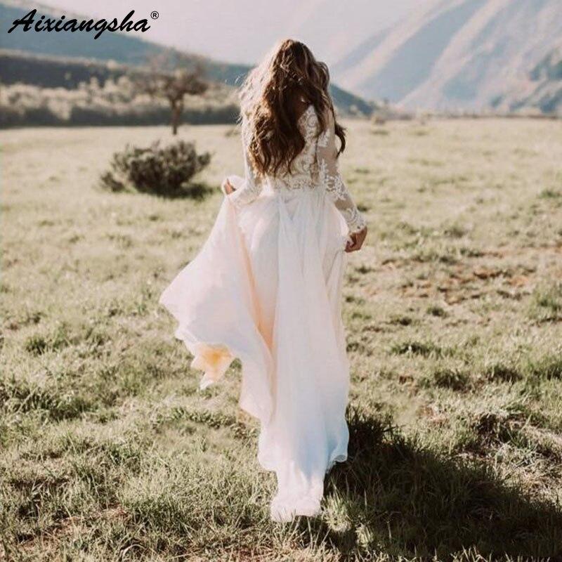 Romantico Pizzo Illusione Manica Lunga Rustico Weding Abiti Appliqued Gonna In Chiffon Robe De Mariee Avorio Beach Abito Da Sposa