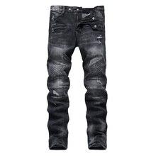 NEUE Biker Männer Jeans Zerrissene Slim Fit Hip Hop Denim Hose herren Jeans Hoher Qualität Motorrad Hosen Punk Homme
