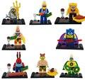 2016 Nuevo 8 unids Bob Esponja Patricio Estrella Conjunto de Juguete Figura de Acción Building Blocks Juguetes de los Ladrillos Compatible legoINGlys