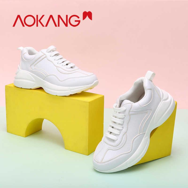 Zapatillas de deporte de mujer AOKANG zapatos casuales de plataforma de cuero genuino con cordones zapatos vulcanizados mujer Zapatillas de deporte al aire libre