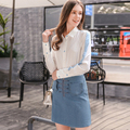 European British style women cowboy denim skirt quality fashion vintage solid blue color zippers mini A line skirts girl N45