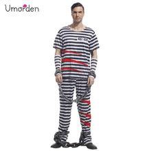 Umorden Carnival Party Halloween Prisoner Costume Men Adult Black White Stripe Top Pants Set Violent Fancy Cosplay