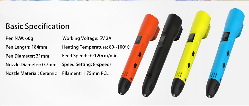 QCREATE QW01-012B 3D Pen PCL Low Temperature 3D Printing Pen LCD screen Heating Temperature and Speed Control free send 10M PCL 8