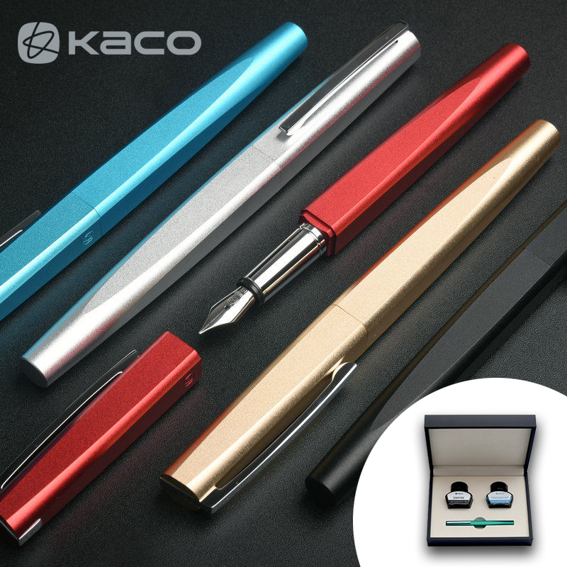 все цены на Limited Edition KACO SOUARE Fountain Pen Set High-end Silver Clip Unique Design 0.5mm Gift Ink Pens for Business/Student/Teacher онлайн