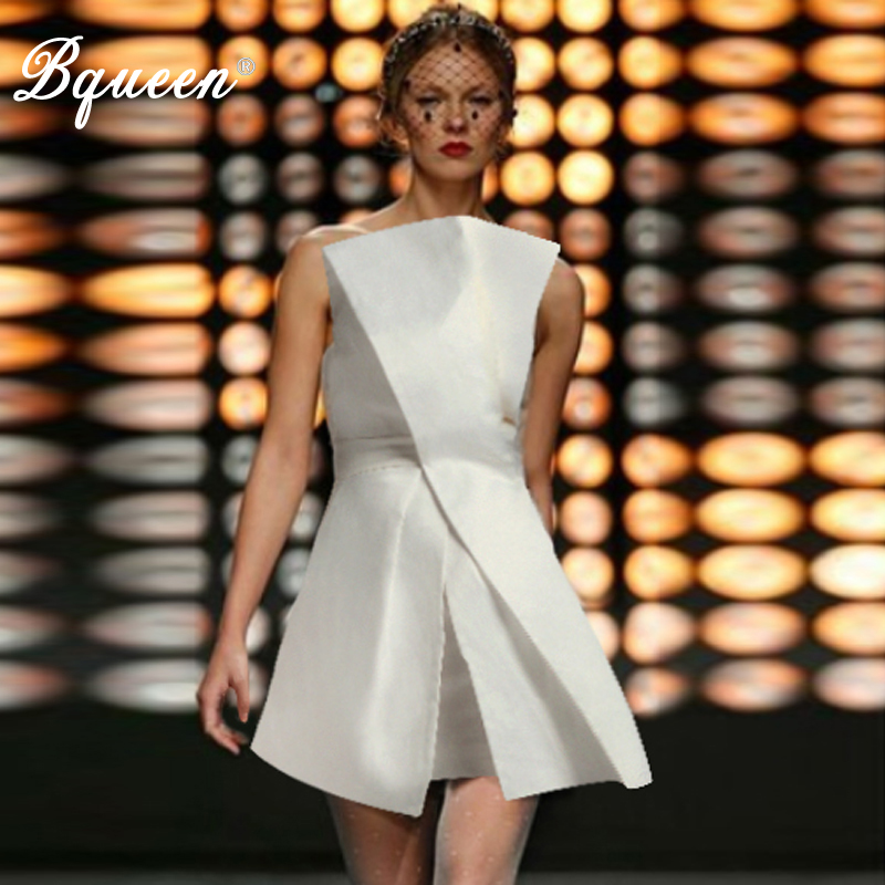 Bqueen Elegant <font><b>A</b></font> <font><b>Line</b></font> Solid Sleeveless <font><b>Slash</b></font> Neck Spring Women Party <font><b>Dress</b></font> <font><b>Sexy</b></font> Backless Mini Women <font><b>Dress</b></font> Vestidos 2019 image