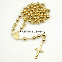 Gold Plating Rosary 8mm Beads 73cm Chain Religious 316L Stainless Steel Necklace Womens Mens Hot Fashion