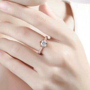 Image 5 - リアルチャールズ Colvard モアッサナイトの婚約指輪 1 カラット VS グラム色固体 14 k 585 ローズゴールド模擬ダイヤモンドアクセント