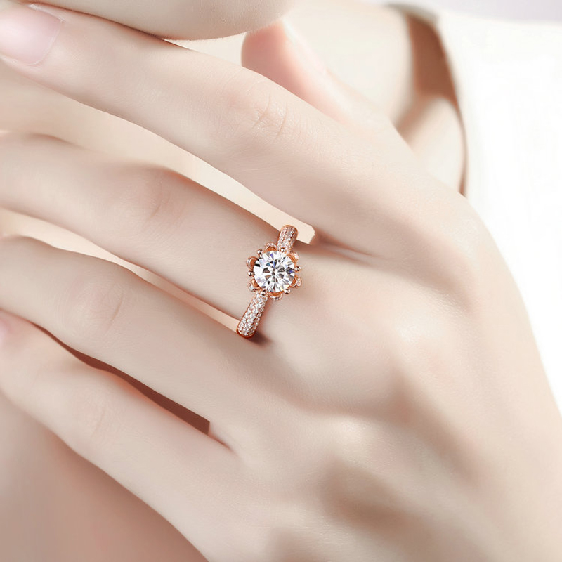 Image 5 - Real Charles Colvard Moissanite Engagement Ring For Women 1 Carat VS G Color Solid 14K 585 Rose Gold Simulated Diamond Accents    -