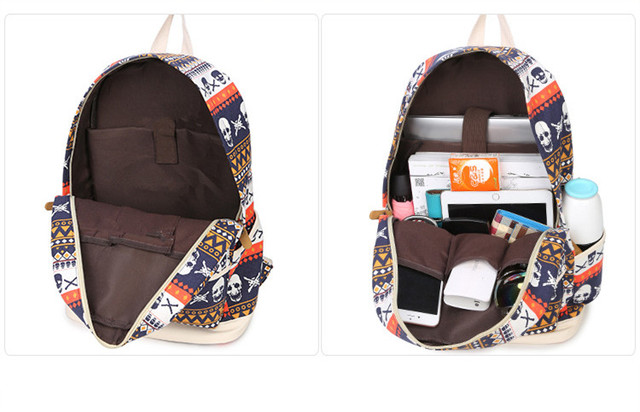 Printing Women Geometric Backpack Skull Canvas Bookbags Set Backpack School Bags for Teenage Girls 5