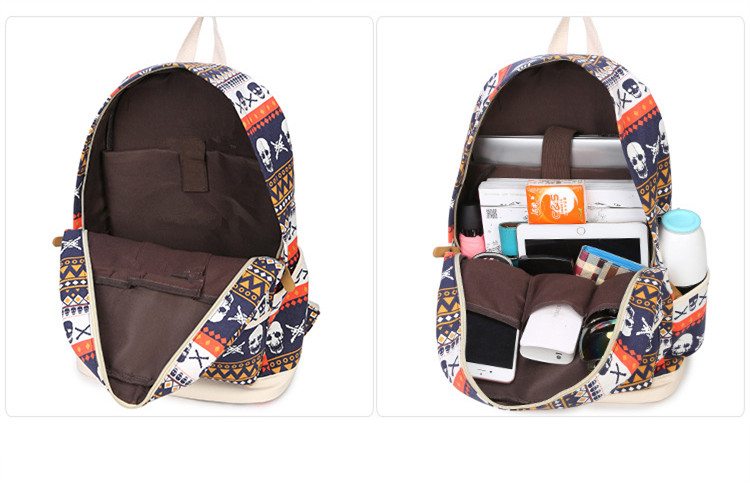 Brand Printing Women Geometric Backpack Skull Canvas Bookbags Set School Bags For Teenage Girls In Backpacks From Luggage On Aliexpress