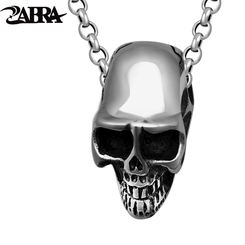 ZABRA Genuine 925 Silver Skull Pendant Men Punk Rock Vintage Necklaces Pendants Skeleton Biker Gothic Sterling Silver Jewelry zabra luxury 925 silver bracelets men vintage punk crown mens skull bracelet biker gothic sterling silver jewelry erkek bileklik