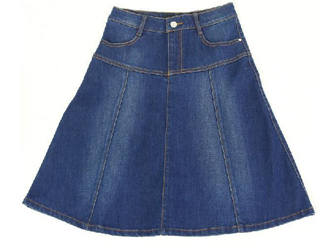A Line Knee Length Denim Skirt - Dress Ala