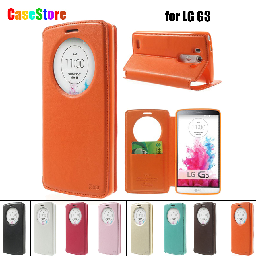 For LG G3 Case Circle Window Original Roar Korea Noble Leather View Flip Stand Case Cover for LG G3 D850 D855 LS990 With Package