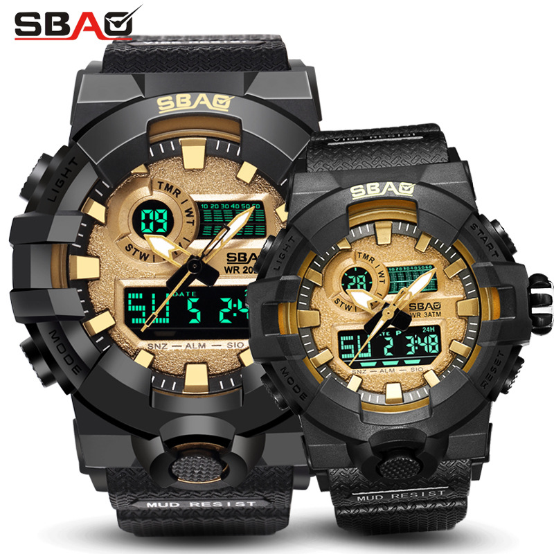 Fashion Sbao Brand Led Display Men Woman Sport Lovers' Watch Digital Wristwatch Stop Daily Alarm Calendar Water Resistant Shock