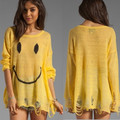 Spring WILDFOX Hole Loose Knit Sweater Smile Face Smiling Hole Pullover Sweater