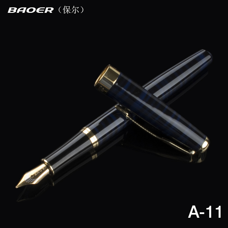 1 Pcs Baoer 388 Blue and Gold Metal Clip Fountain Pen 0.5mm Luxury Ink Pens for Office Writing School supplies