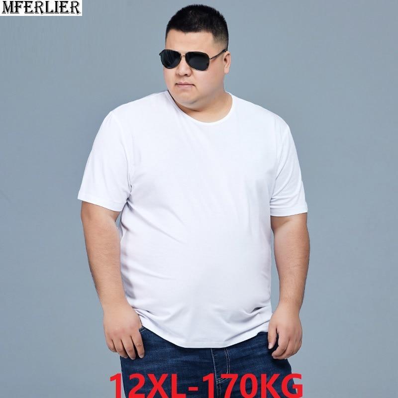 Men Summer T-shirts Short Sleeve Plus Size Big Sale Man Casual 8XL 10XL 12XL Simple Home Tshirt Solid Color Black Tees 60 62 66