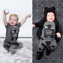 Baby Boy Girl Monster Print T-shirt Tops+Pants Leggings 2pcs Outfits Set Costume