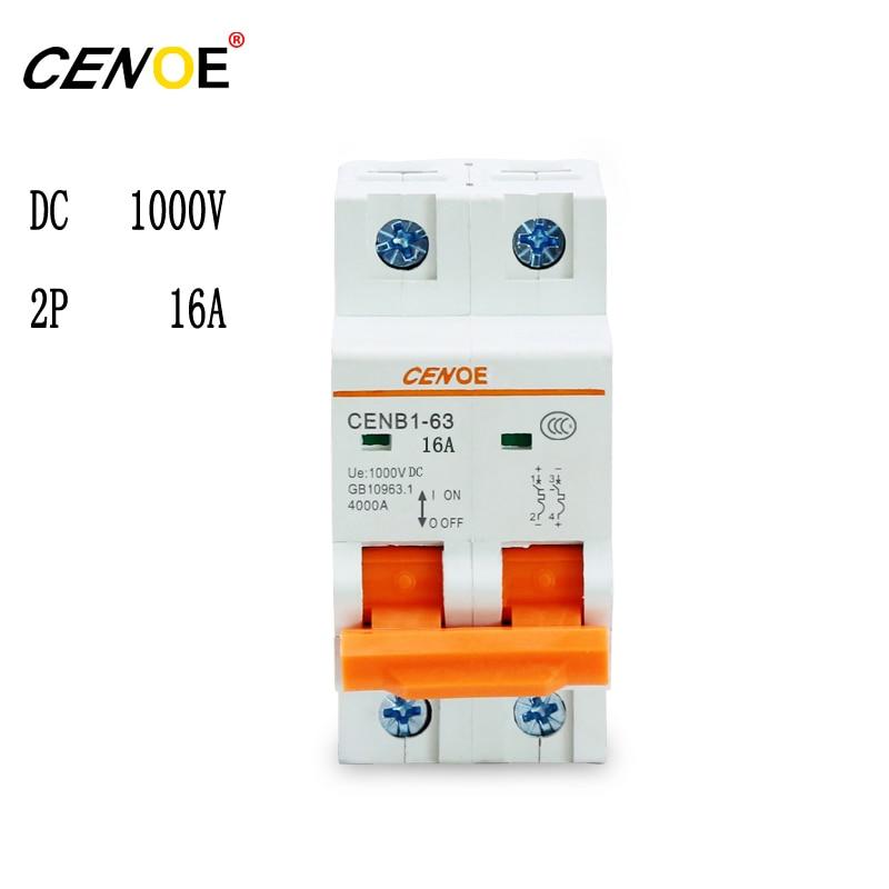2p 1000V DC 16A high quality dc solar breaker miniature circuit breaker 16a overload protector safety breaker  DC breaker