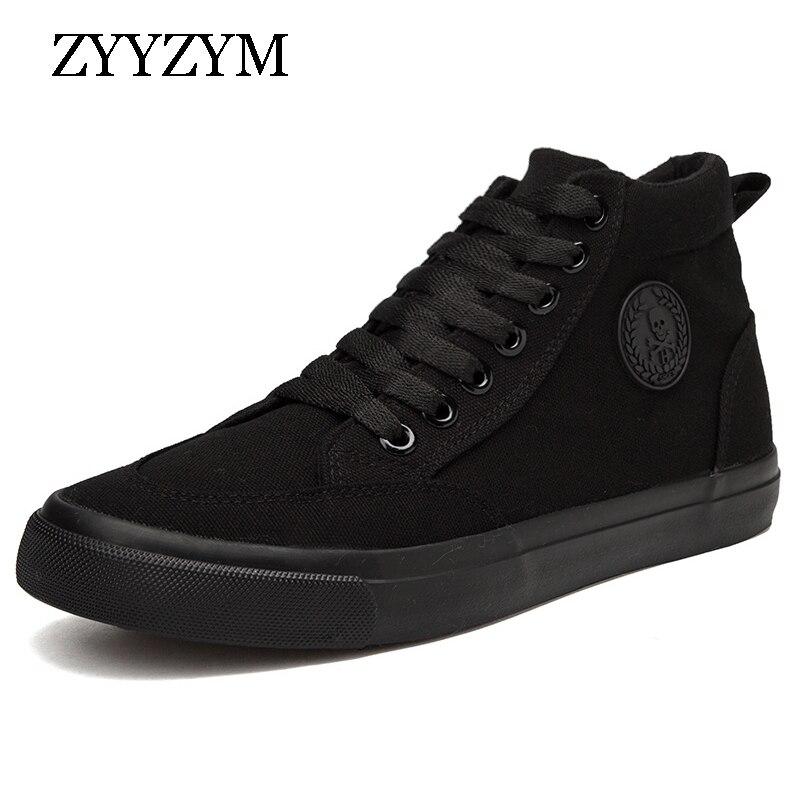 ZYYZYM Hommes Toile Chaussures Printemps Automne 2018 Dentelle-up Haute Style Hommes Vulcaniser Chaussures Mode Appartements Jeunes Hommes Chaussures vente chaude