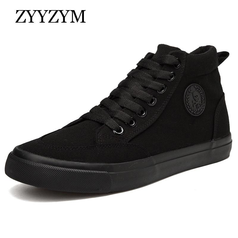 ZYYZYM Men Canvas Shoes Spring Autumn 2018 Lace-up High Style Men Vulcanize Shoes Fashion Flats Youth Men Shoes Hot Sale стоимость
