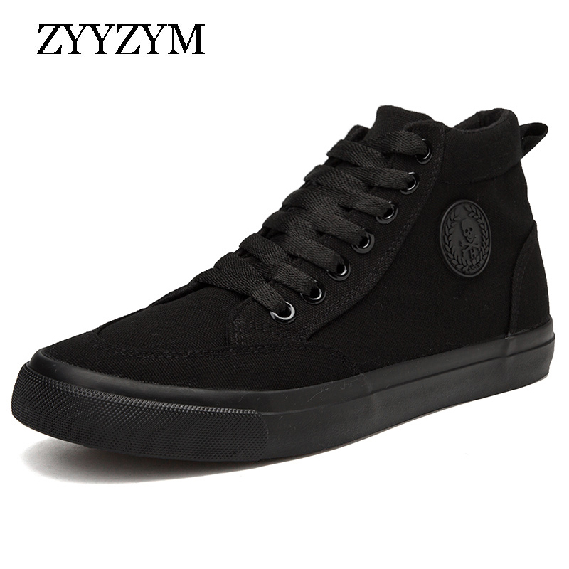 ZYYZYM Men Canvas Shoes Spring Autumn 2018 Lace-up High Style Men Vulcanize Shoes Fashion Flats Youth Men Shoes Hot Sale