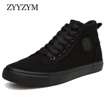 ZYYZYM Shoes Men Spring Autumn Lace up High Top Style Men Vulcanize Shoes Fashion Flats Youth Men Canvas Shoes Sneakers