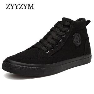 Image 1 - ZYYZYM Shoes Men Spring Autumn Lace up High Top Style Men Vulcanize Shoes Fashion Flats Youth Men Canvas Shoes Sneakers