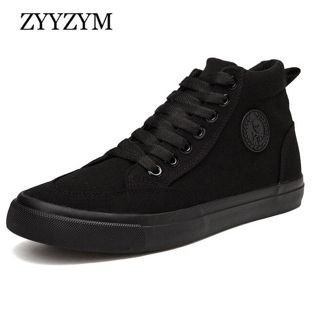 ZYYZYM Shoes Men Spring Autumn Lace up High Top Style Men Vulcanize Shoes Fashion Flats Youth Men Canvas Shoes Sneakers