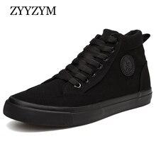 ZYYZYM أحذية الرجال ربيع الخريف الدانتيل متابعة عالية أعلى نمط الرجال فلكنيز أحذية الموضة الشقق الشباب الرجال حذاء قماش أحذية رياضية