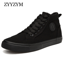 Zyyzym靴男性春の秋のレースアップハイトップスタイル男性加硫靴ファッションフラット青年男性キャンバスシューズスニーカー
